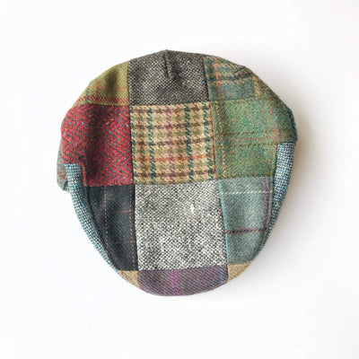 John Hanly Caps Tweed Patch Plaid Driver Cap