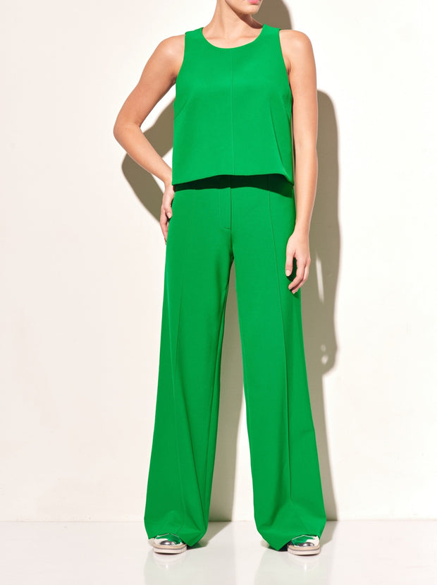 Stretch Cady Wide Leg Trousers