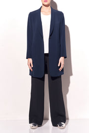 Stretch Cady Elongated Shawl Collar Jacket