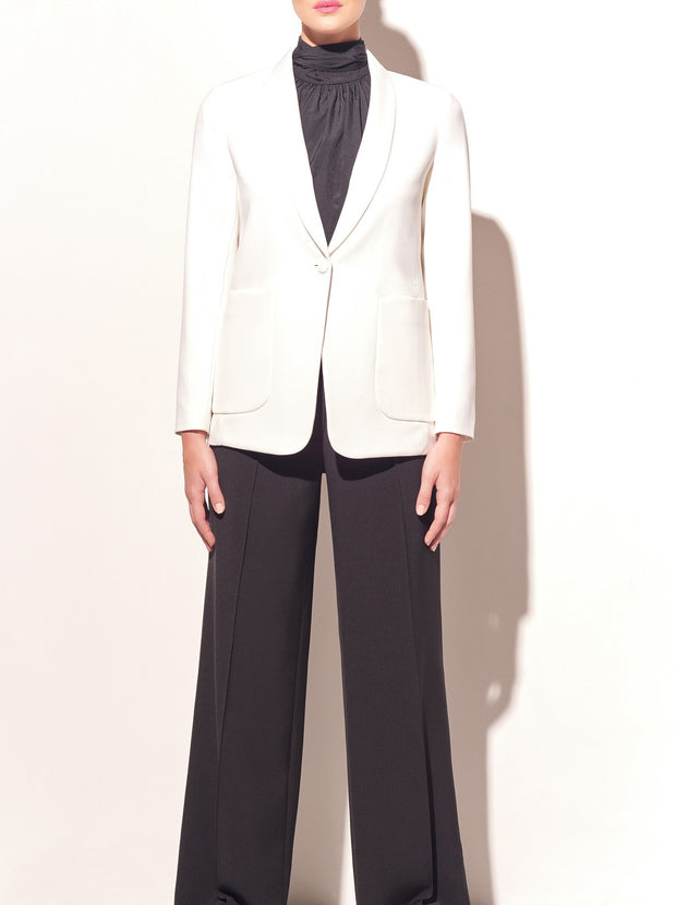 White Cady Shawl Collar Jacket