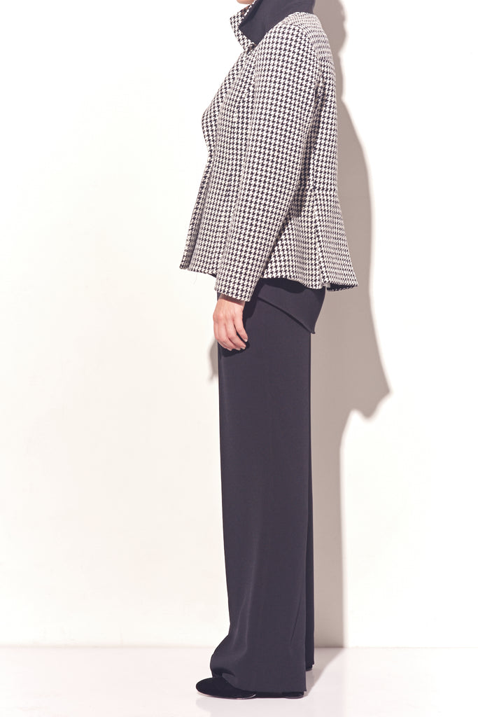 Cotton Houndstooth Pea Coat