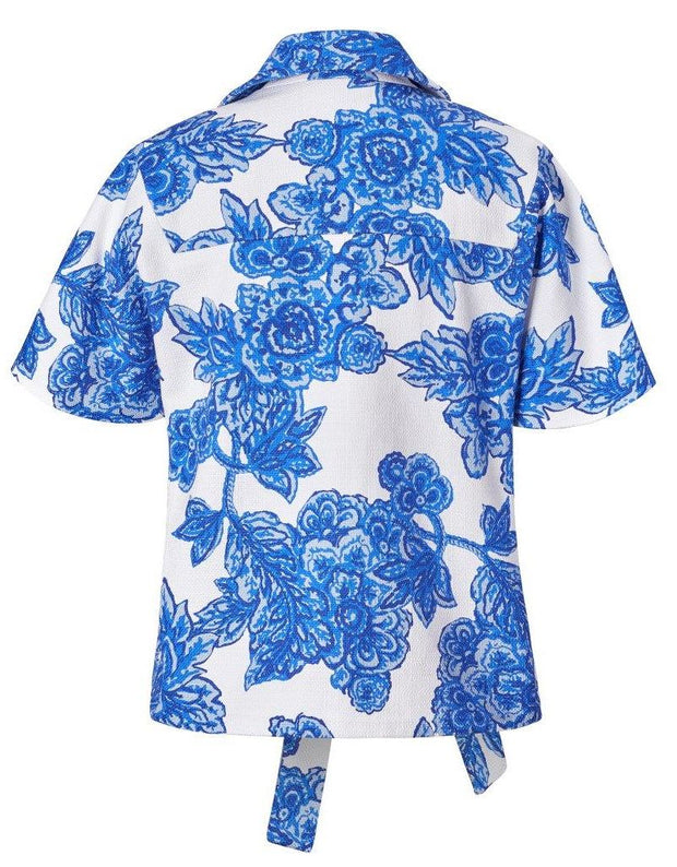 Floral Cotton Short Sleeve Belted Jacket