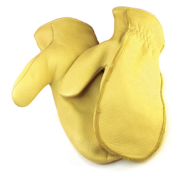 Men's Deerskin Chopper Mittens - Tan (Lined) - Deer Skin Gloves