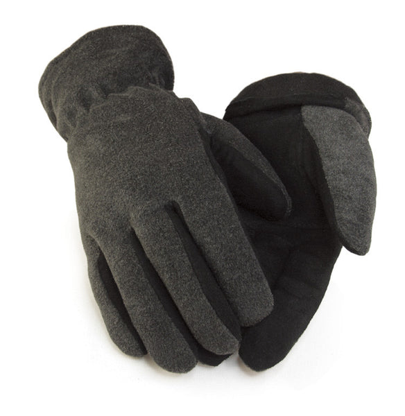Men's Deerskin Suede Palm Glove - Gray (Lined) - Deer Skin Gloves