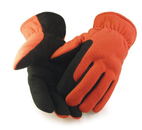 Men's Deerskin Suede Palm Glove - Blaze Orange (Lined) - Deer Skin Gloves
