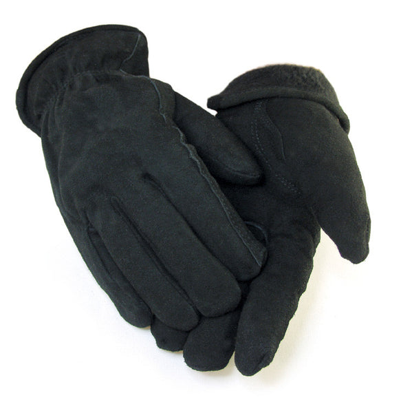 Men's Deerskin Buttersoft Glove - Black (Lined) - Deer Skin Gloves
