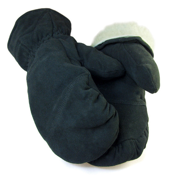 Men's Deerskin Buttersoft Mittens - Black (Lined) - Deer Skin Gloves