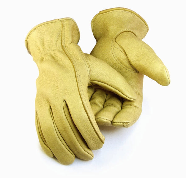Men's Deerskin Gloves - Tan (Unlined) - Deer Skin Gloves, LLC