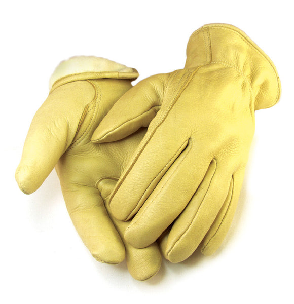 Men's Deerskin Gloves - Tan (Lined) - Deer Skin Gloves