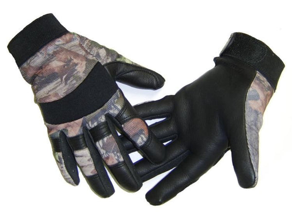 Men's Deerskin & Nylon Stretch Mechanic / Sport Gloves - Camo - Deer Skin Gloves