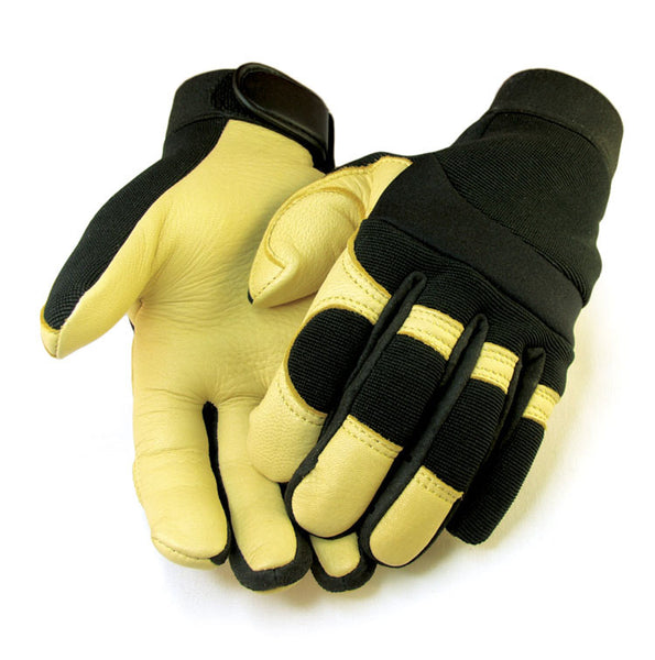 Men's Deerskin & Nylon Stretch Mechanic / Sport Gloves - Tan - Deer Skin Gloves