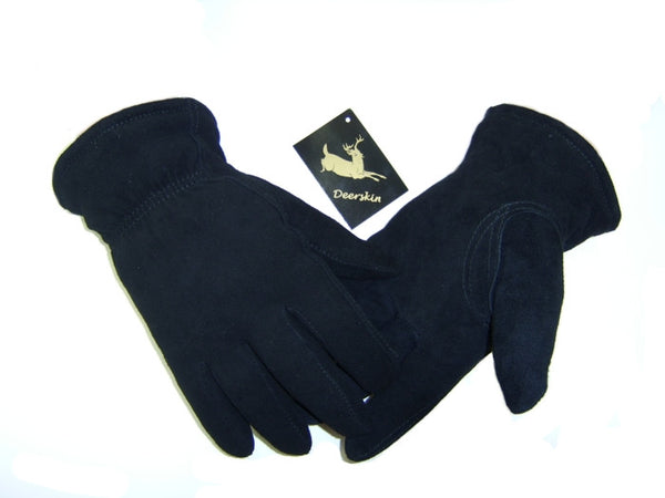 Men's Deerskin Suede Split Gloves - Black (Lined) - Deer Skin Gloves