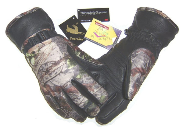 Men's Deerskin Ski Gloves - Camo (Lined) - Deer Skin Gloves