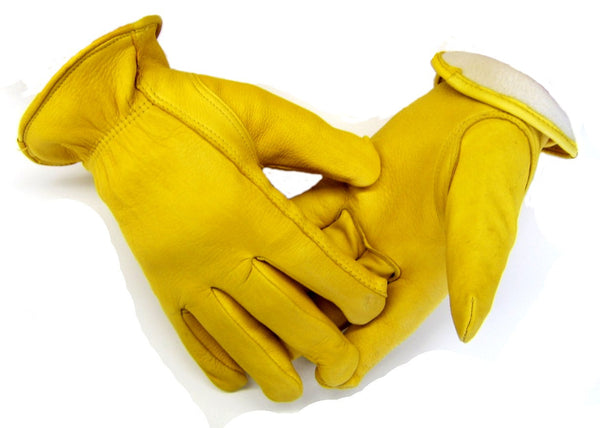 Men's Deerskin Gloves - Tan (Fleece Lined) - Deer Skin Gloves