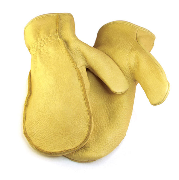 Men's Elkskin Chopper Mitts - Tan (Lined) - Deer Skin Gloves