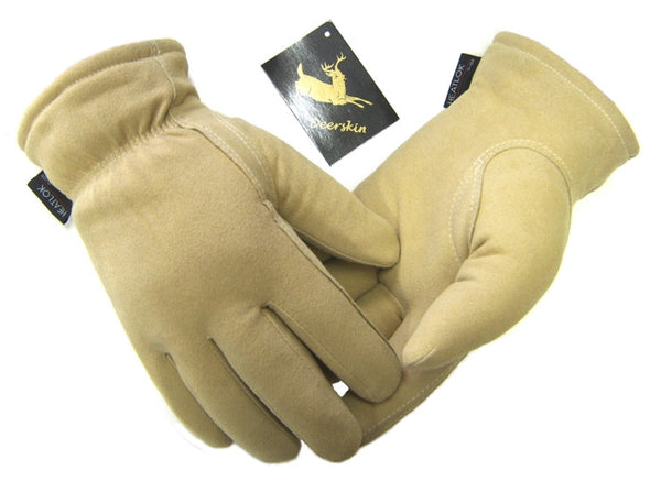 Men's Deerskin Suede Split Gloves - Natural (Lined) - Deer Skin Gloves