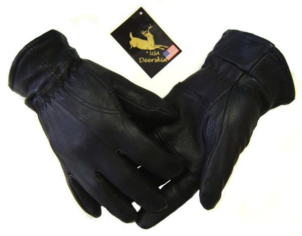 Men's Deerskin 'Piece' Gloves - Black (Fleece Lined) - Deer Skin Gloves