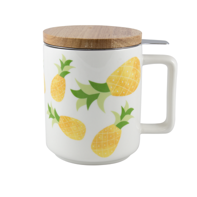 Ceramic mug with pineapples, bamboo lid and loose leaf tea infuser