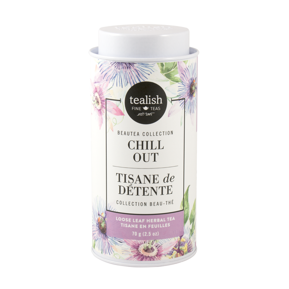 Chill Out Herbal Tea tin, loose leaf tea