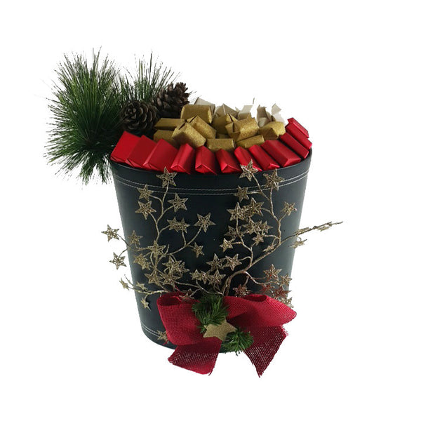 Leather Red & Gold Basket