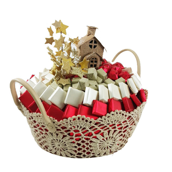 Knitted Red and Gold Basket