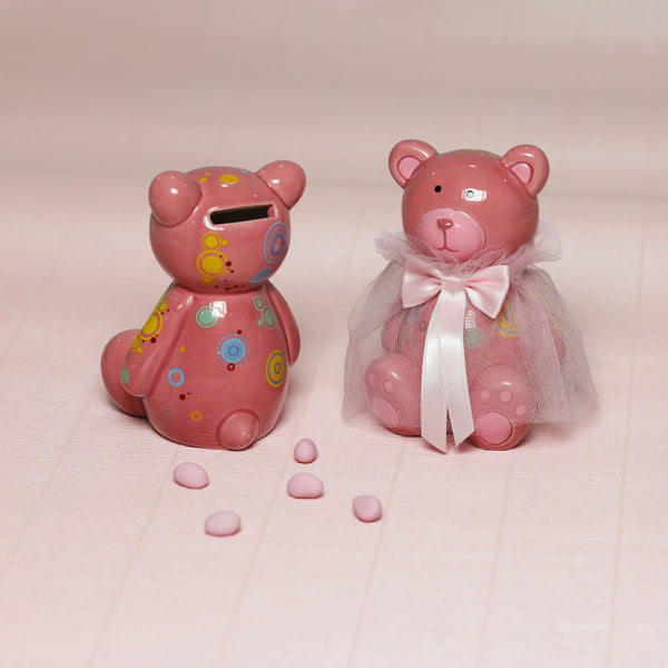 Ceramic Teddy Piggy Bank - Girl