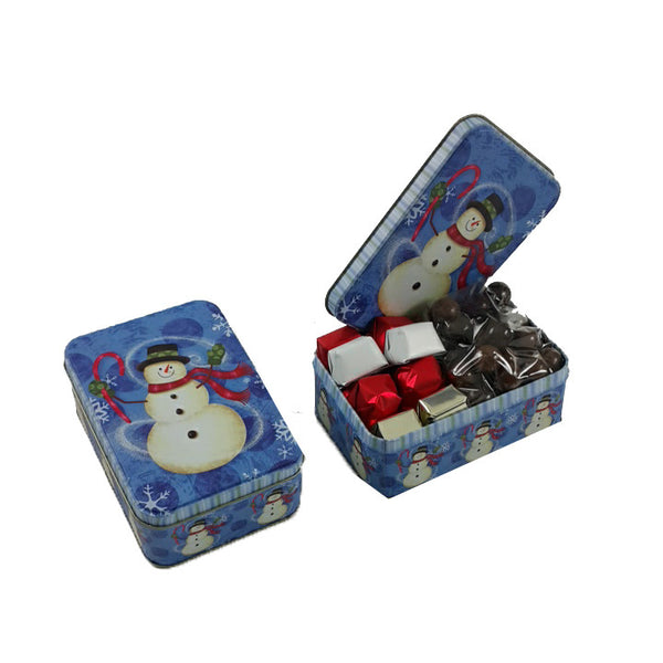 Snow Man Christmas Tin Box