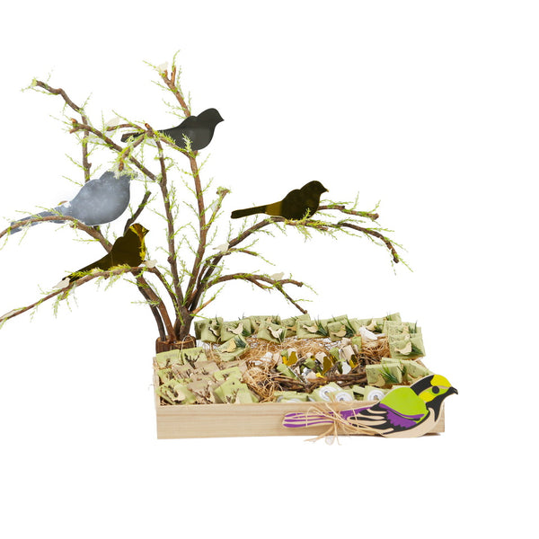 Wooden Bird Rectangular Chocolate Tray