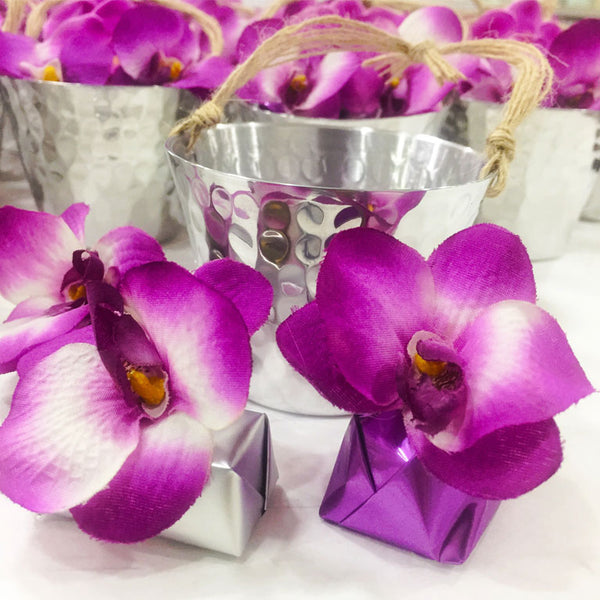 Stainless Orchid Round Chocolate Bucket