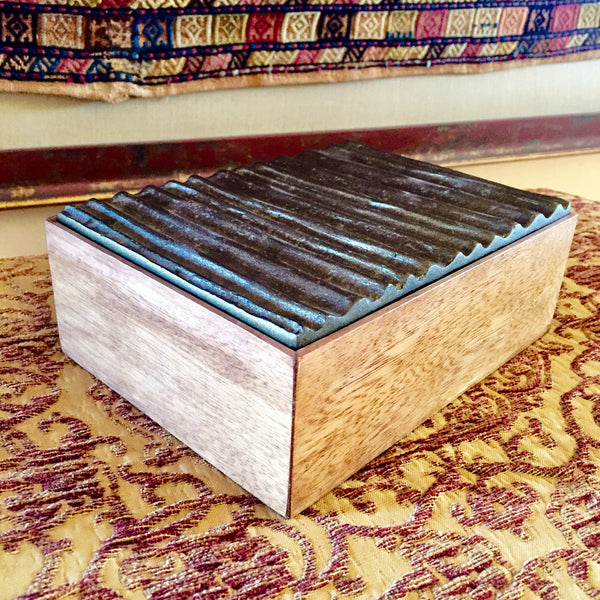 Wooden with Metallic Cover Box