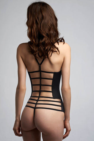 Leading Strings Strictly Black Plunge Balcony Corset