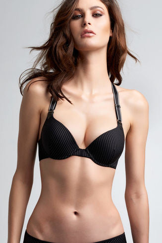 Gloria Black Pinstripe Push Up Bra
