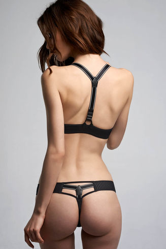 Gloria Black Pinstripe 4cm Thong