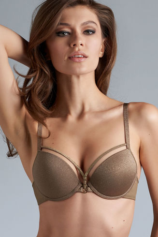 Space Odyssey Gold and Shitake Push Up Bra