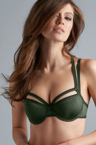 Crown Jewel plunge balcony bra | pine green
