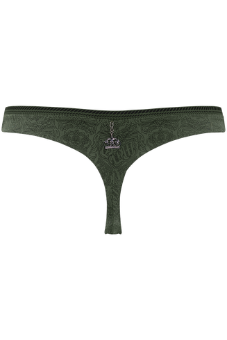 Crown Jewel butterfly thong | pine green