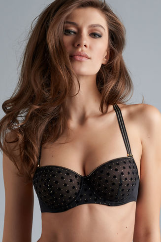 petit point balcony bra | black and gold dot