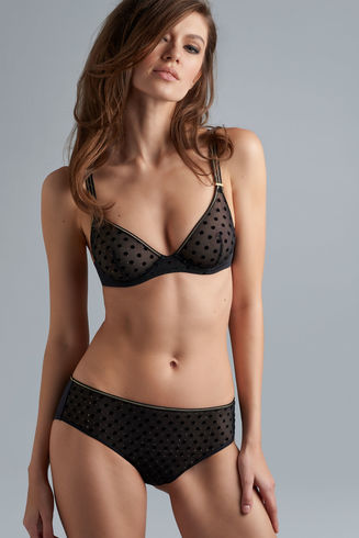 petit point plunge bra | black and gold dot