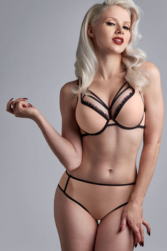 meringue push up bra | black and pale peach