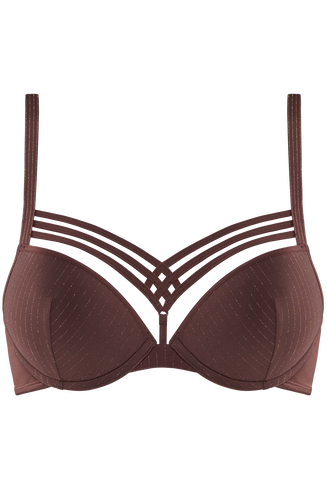 dame de paris push up bra | brown with golden lurex