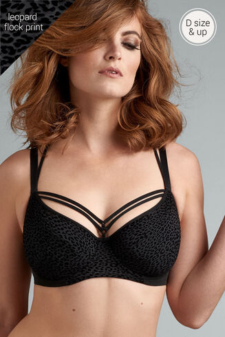 feline jazz semi padded plunge balcony bra | black
