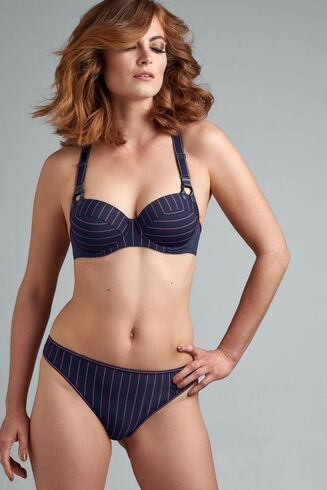 gloria plunge balcony bra | maritime blue and pink