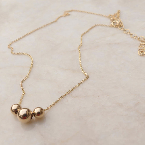 Gold Three Bead 'Past Present Future' Necklace - im keepsakes