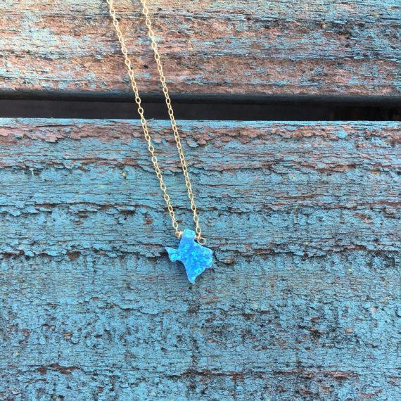 Blue Texas Opal Necklace |  Gold or Silver