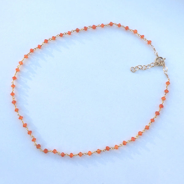 Dark Orange Carnelian Choker Necklace - im keepsakes