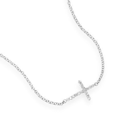 Silver Sideways Cross Necklace with CZ's - im keepsakes