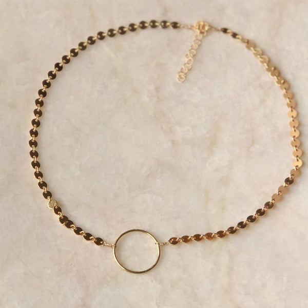 Eternity Circle Gold Disc Choker Necklace