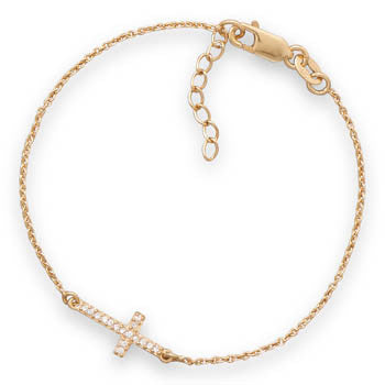 Gold Bracelet with CZ Sideways Cross - im keepsakes