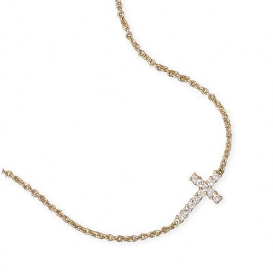 Tiny Gold Sideways Cross Necklace with CZ's - im keepsakes