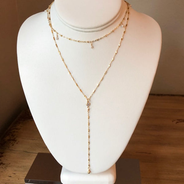 Gold Y Necklace w/ Tiny CZ Connector - im keepsakes